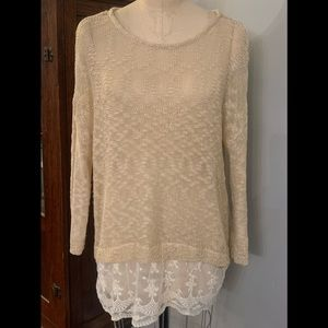 Boutique Umgee Lace Sweater sz Med